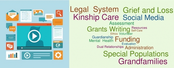 Graphic of internet-related icons and a word cloud of kinship caregiving terms