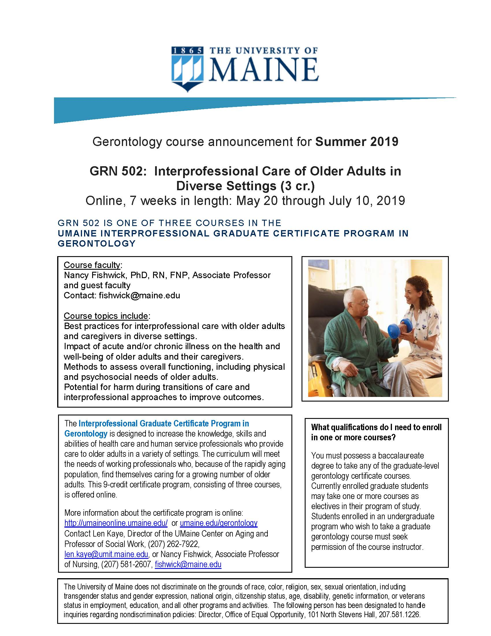 Gerontology course announcement for Summer 2019 - UMaine